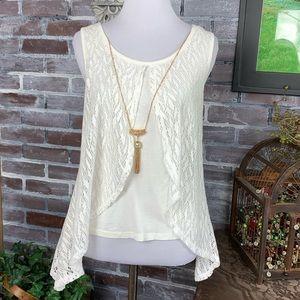 XS lacy white IZ Byer top